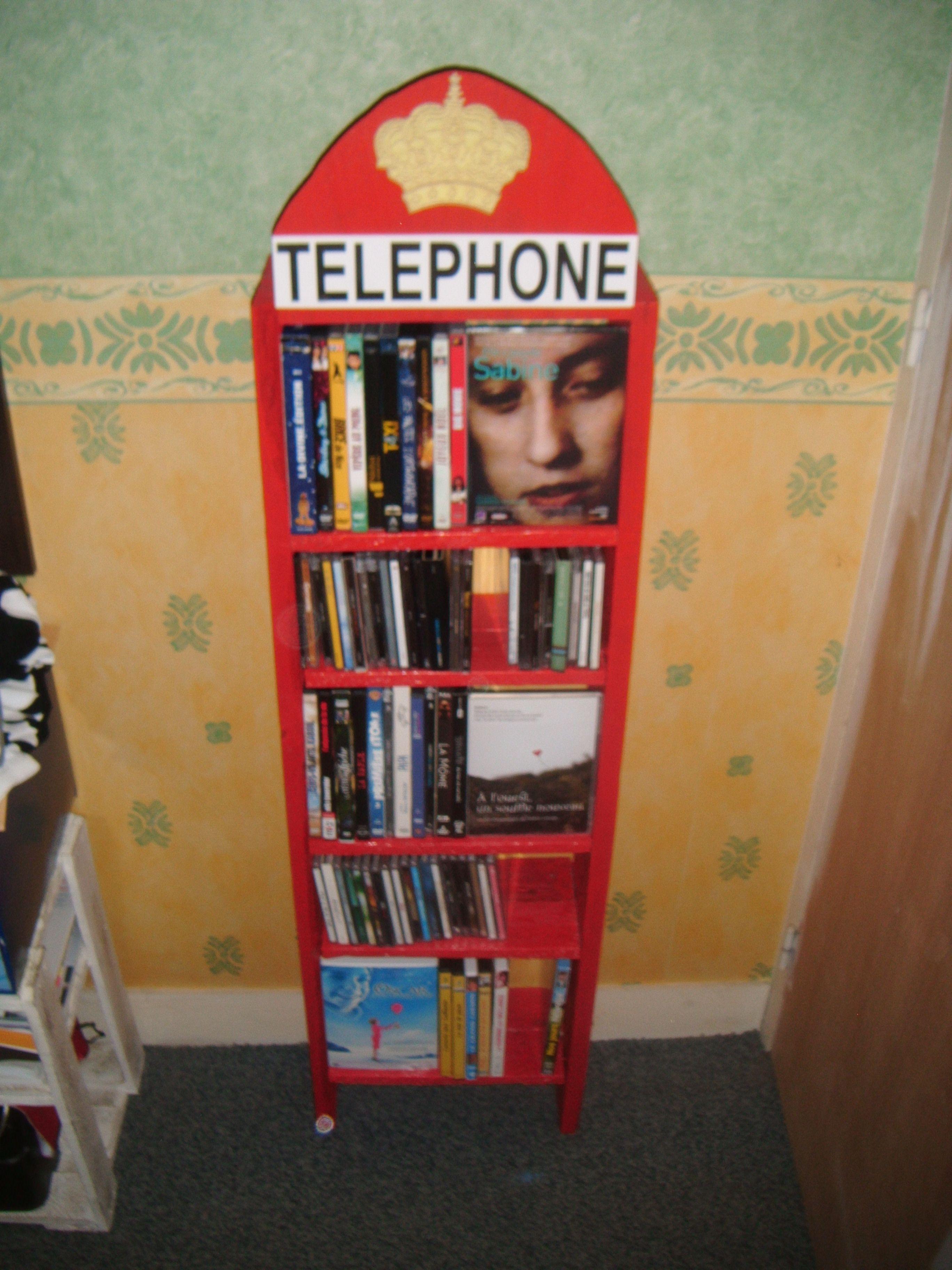 Meuble cd dvd en palettes cabine t l anglaise bosch les palettes r cup et d tournement - Meuble cabine telephonique anglaise ...
