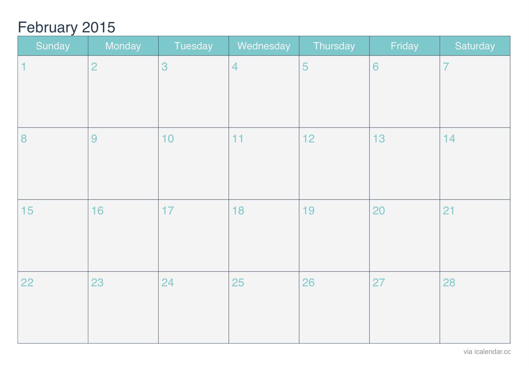 Download Calendar 2015 February Printable Templates Designs Blank