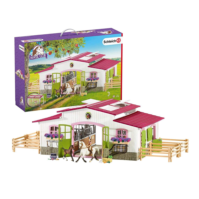 Schleich 42344 Reiterhof Mit Reiterin Und Pferden Amazon De Spielzeug In 2020 Reiten Pferd Schleich Pferde