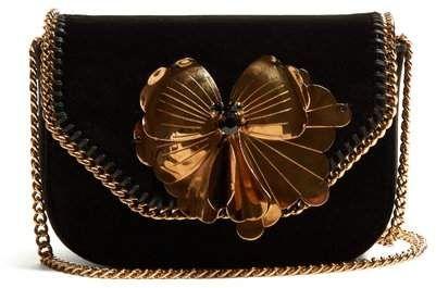 b07071935d Stella McCartney Falabella Box Mini Velvet Cross Body Bag - Womens - Black  Gold