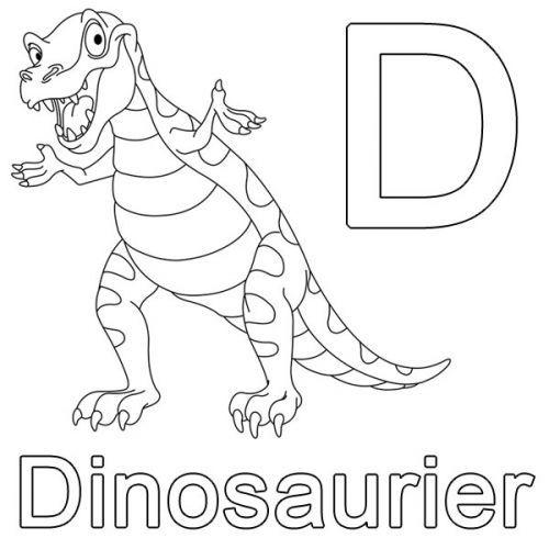 Buchstaben lernen: Kostenlose Malvorlage: D wie Dinosaurier zum
