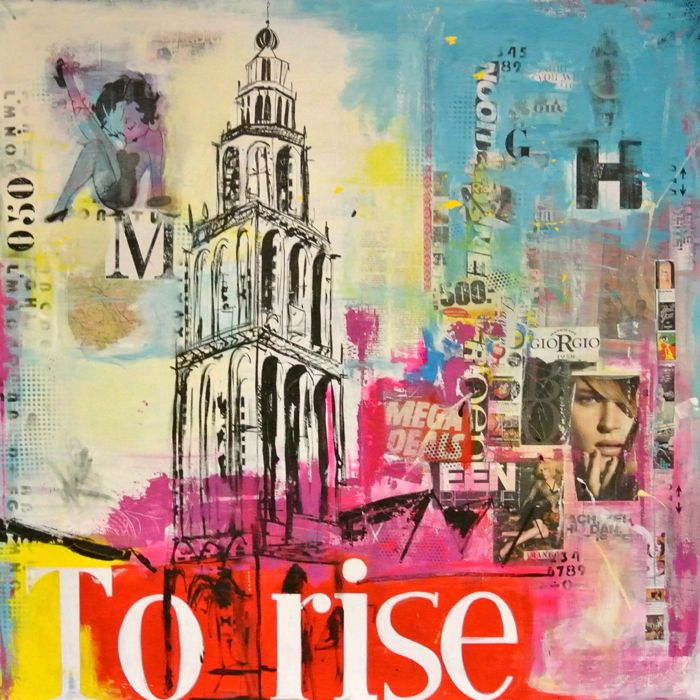 dit mooie abstract geschilderde schilderij met zijn vele kleuren, Deco ideeën