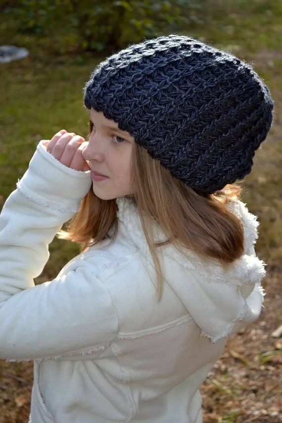 Oversized beanie-Big head hat- Black tam-Womens winter slouchy hat ... 8f192c1324f5