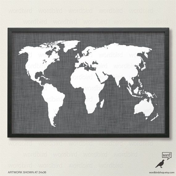 Black and white charcoal linen world map map print wall decor black and white charcoal linen world map map print wall decor rustic gumiabroncs Choice Image