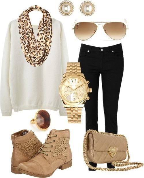 Hint of cheetah w/ gold accessories - White sweatshirt x black skinnys x booties.