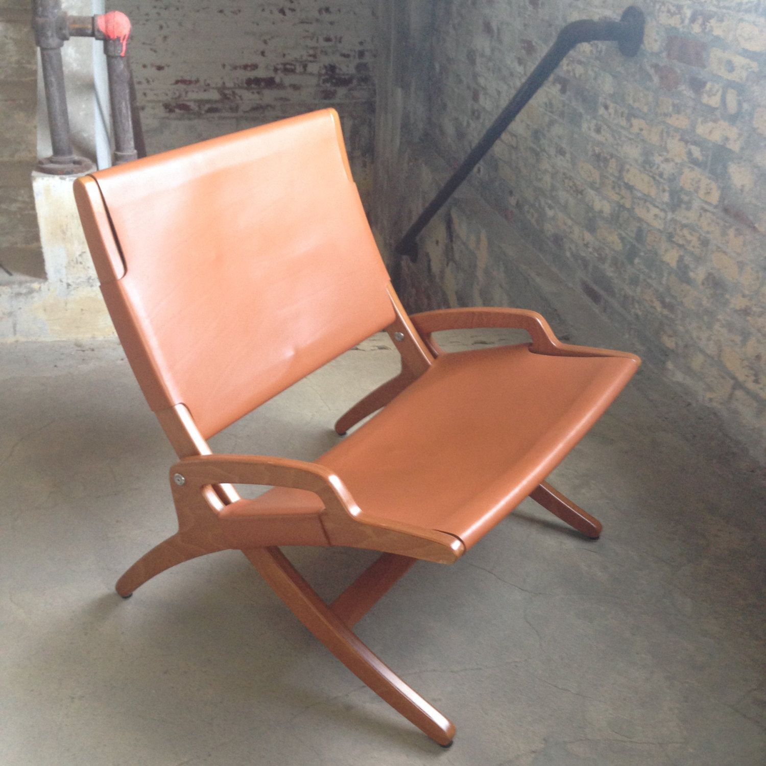 Vintage Leather Chair   Mid Century Hans Wegner Style Chair   Modern Danish  Leather Folding Chair   Danish Chair   Unusual Danish Chair By  DareToBeVintage ...