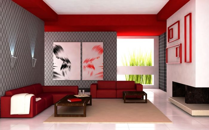Salon rouge moderne | Salon rouge, Salon moderne et ...