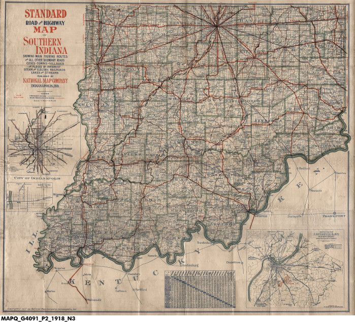 1918 Standard Road and Highway Map of Southern Indiana Showing Main ...