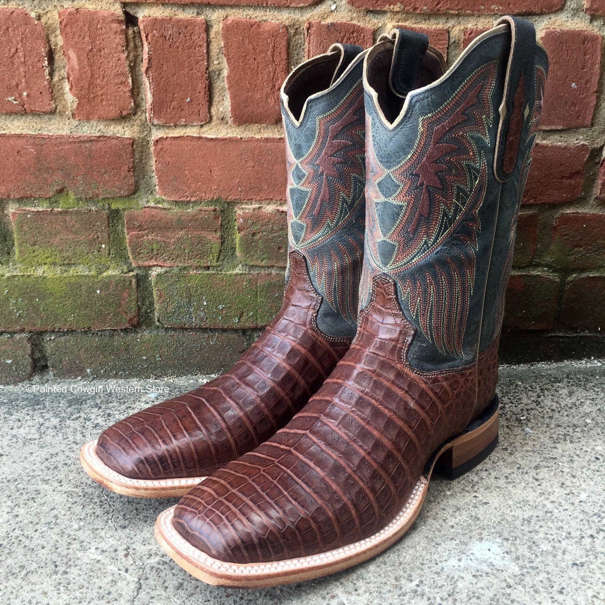 58378fcaf11 Tony Lama Men's Dark Cognac Vintage Caiman Belly Sq Toe Boots 6075 ...