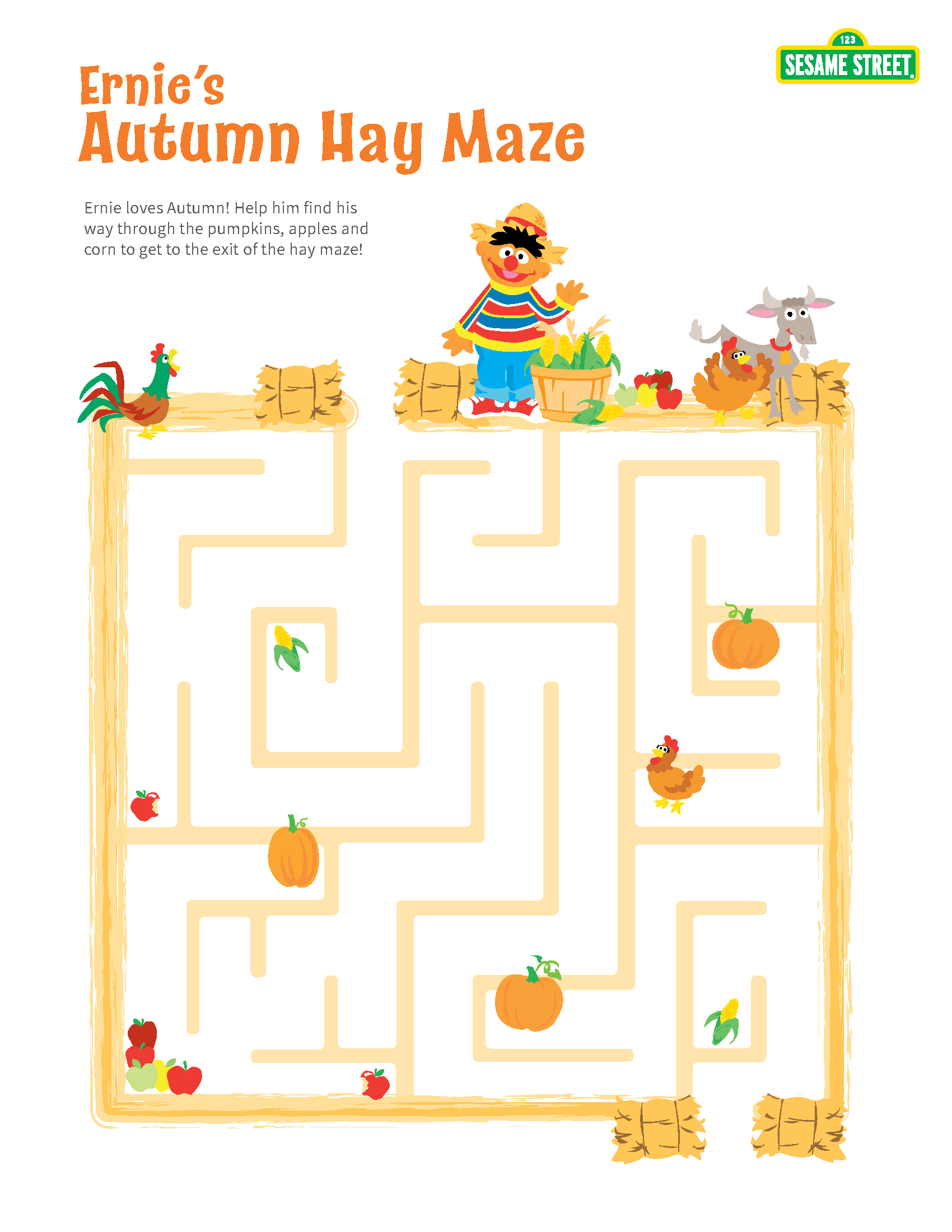 Printable Sesame Street Autumn Hay Maze With Ernie