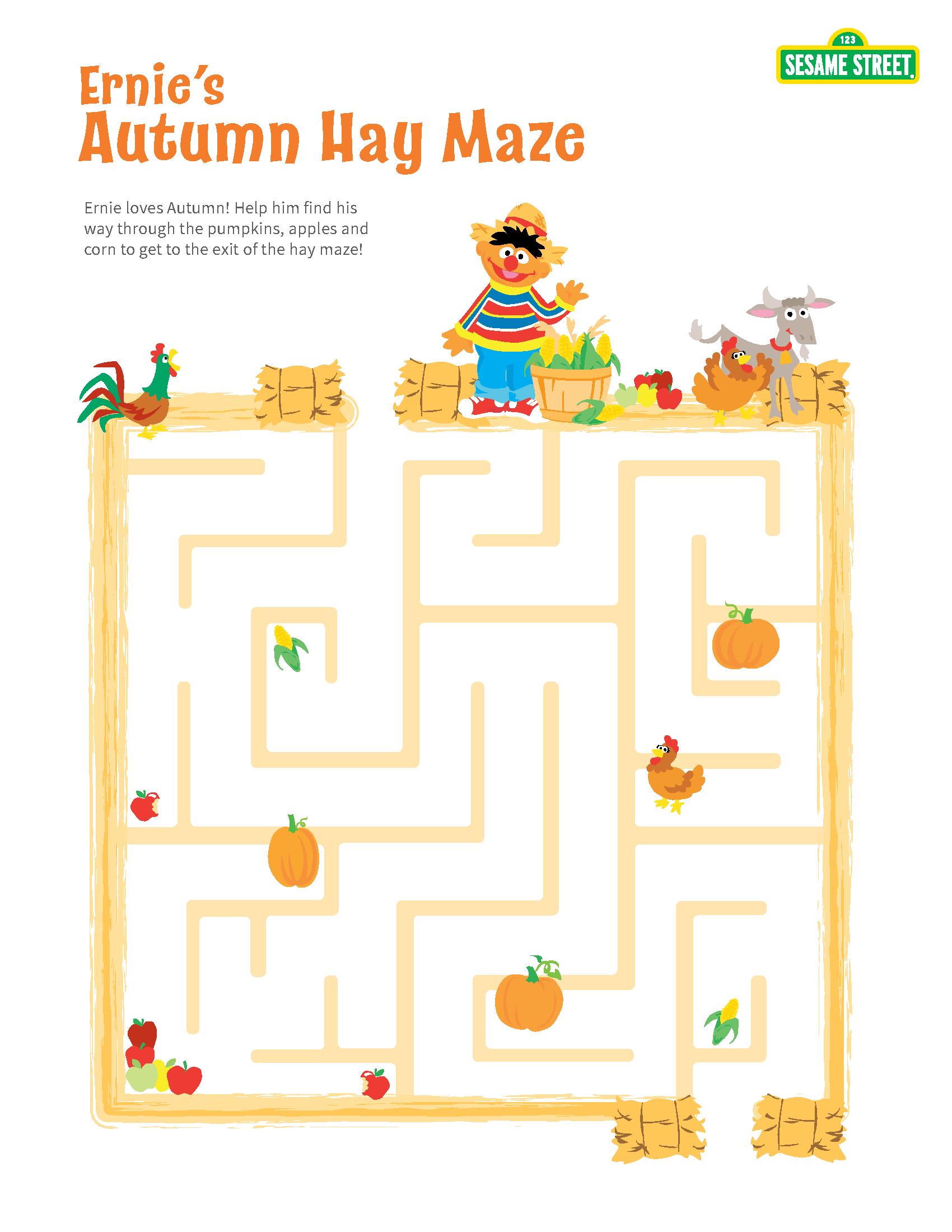 Printable Sesame Street Autumn Hay Maze With Ernie