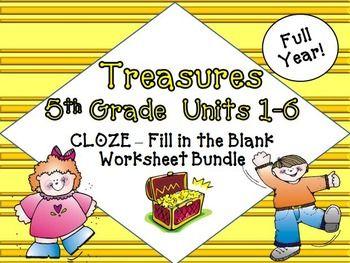 Photo of Treasures Reading 5th Grade CLOZE Worksheets Full Year