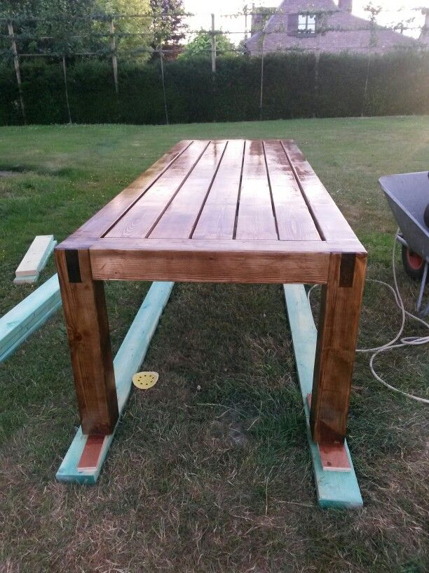 Home Made Garden Table Stained With Dark Oak And Wheather