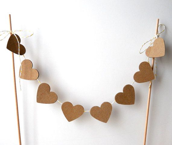 Cake Bunting, 12 of Kraft Hearts - Wedding Decor, Cake Topper, Rustic, Natural, Nature, Primitive, Brown, Farmhouse, Bakers Twine, Dowels via Etsy