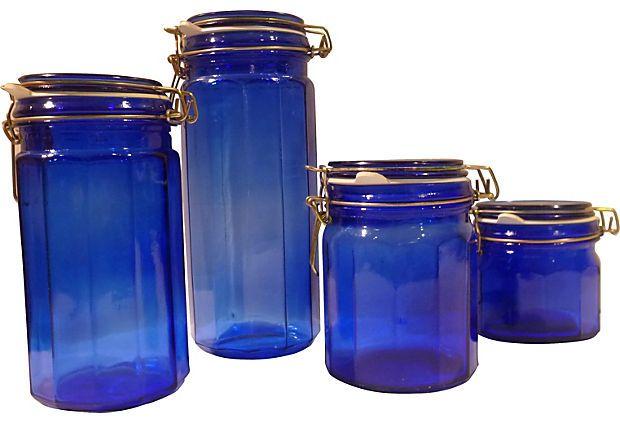 Cobalt Blue Kitchen Canisters | Ecfaceted Blue Kitchen Canisters Set Of 4 On Onekingslane Com