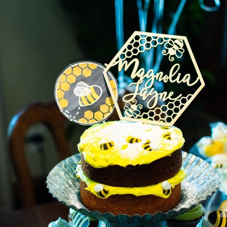 Amazing Happy Bee Day Cake Topper Bumble Bee Birthday Cake Topper Bee Funny Birthday Cards Online Fluifree Goldxyz
