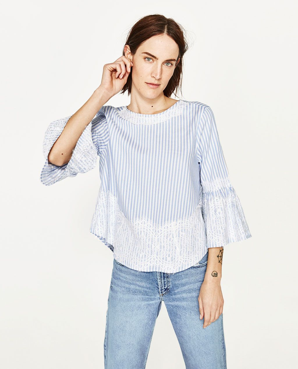 BLOUSE WITH LACE DETAILS-View All-TOPS-WOMAN   ZARA United States