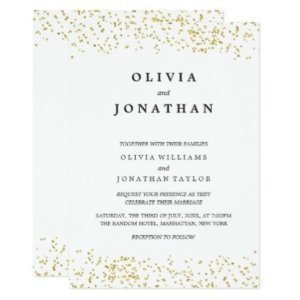 Faux Gold Confetti Modern Wedding Invitation Gifts Customize Marriage Diy Unique Golden