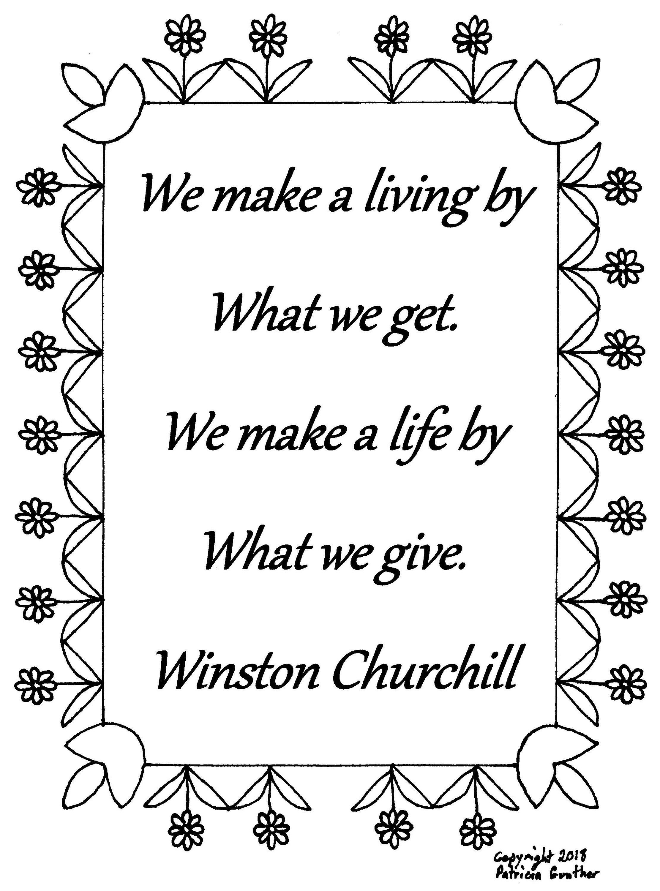 We Make A Living By Winston Churchill Quote Coloring Page