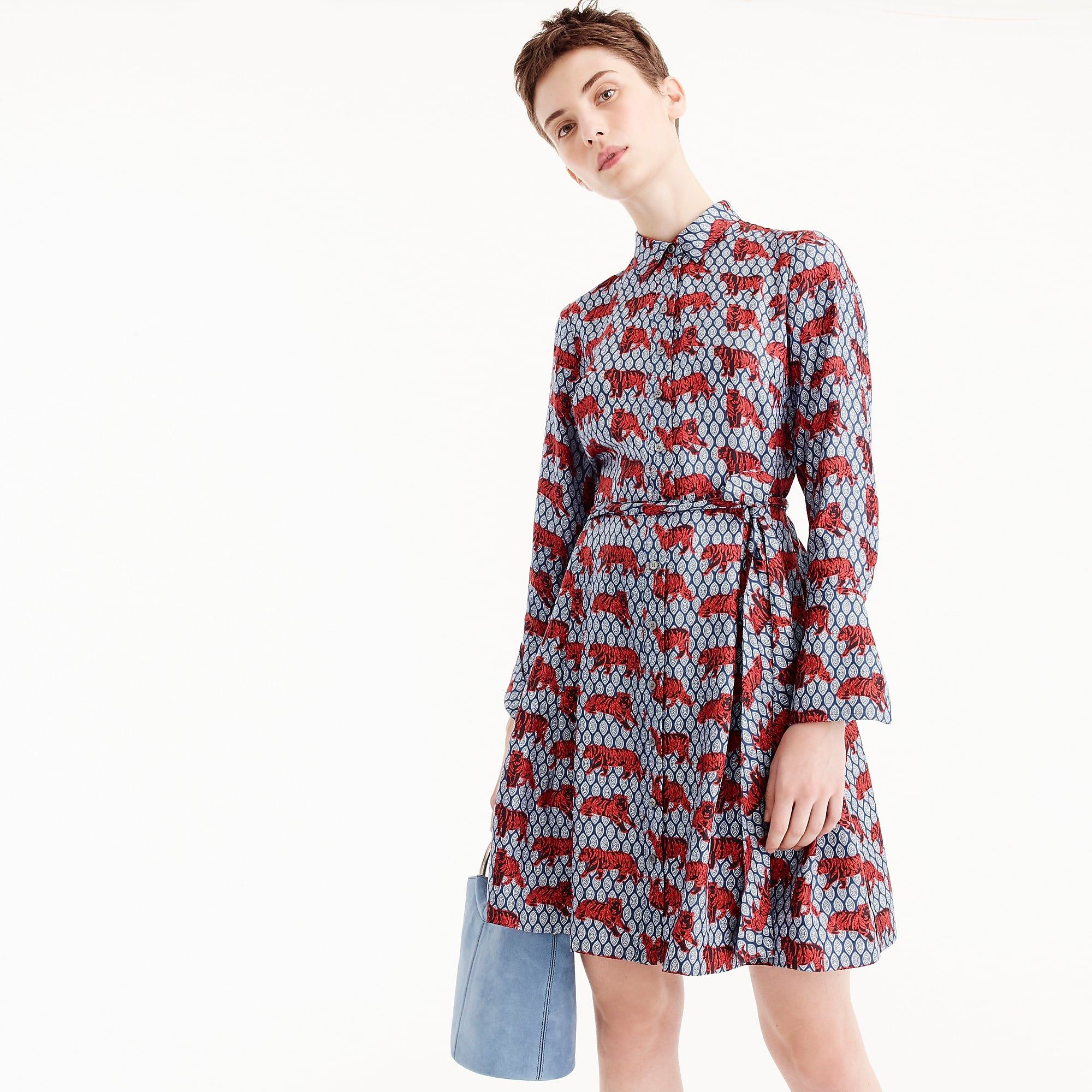 933cc38d805a7 Collection silk twill shirtdress in roaming tiger print