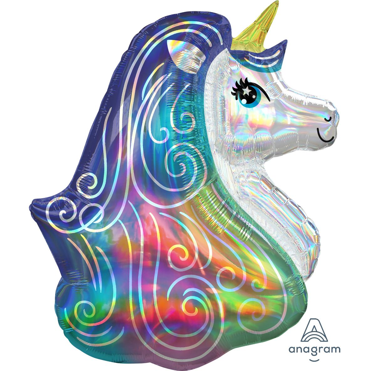 "Iridescent Rainbow Unicorn 30"" SuperShape Balloon Party"