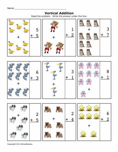 Math Worksheets, Addition Worksheets, Sums 1-10, Vertical | Toplama ...