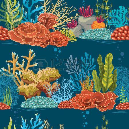 Plantes Marines Coral Banque D Images Vecteurs Et Illustrations Libres De Droits Recif De Corail Paysage Sous Marin Illustration De Baleine