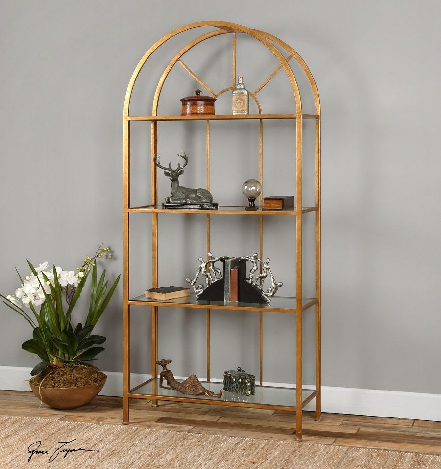 Cireneo Gold Leaf Metal Bookcase Etagere