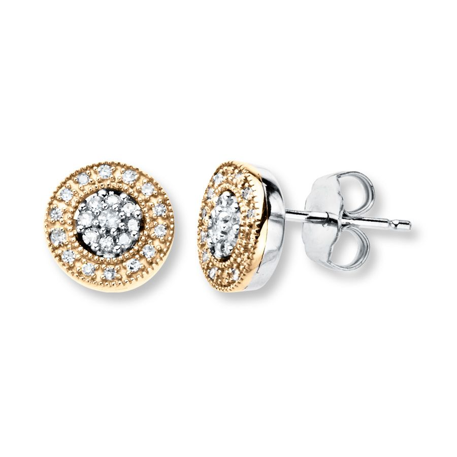 Fine Jewelry 1/5 CT. T.W. Round Diamond Studs 10K Yellow Gold ZDTl243