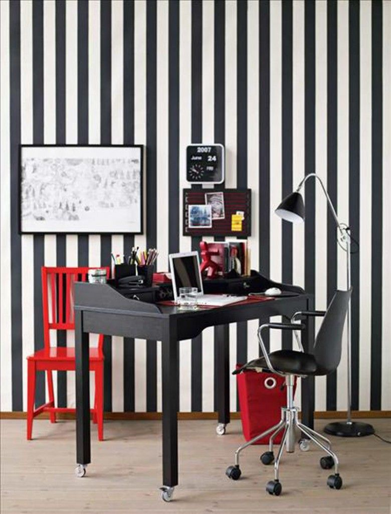 Some Fun Modern Home Office Ideas : Home Office With Black White Striped  Wall And Red