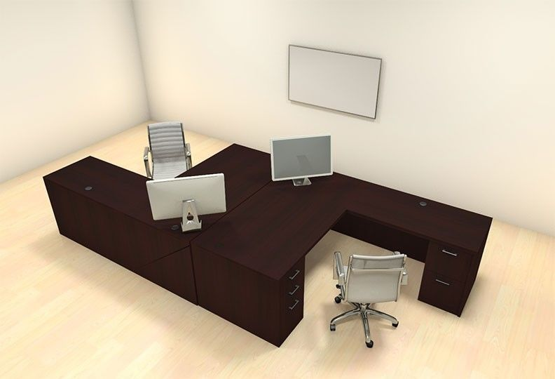Two Persons Modern Executive Office Workstation Desk Set, #CH AMB F2