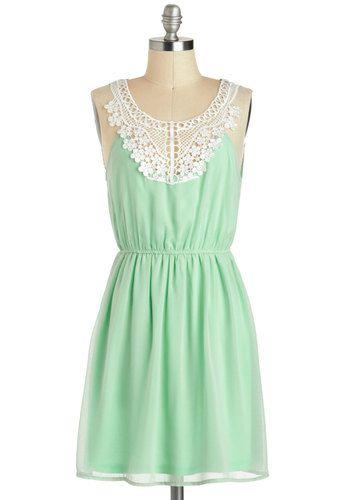 Pergola Di Da Dress - Sheer, Mid-length, Mint, White, Solid, Crochet, Casual, A-line, Sleeveless, Fairytale, Summer $45