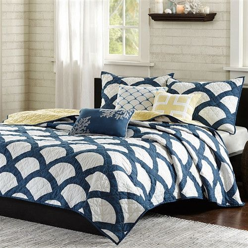 Superb Queen Navy White Yellow Geometric Cotton 6 Piece Quilt Coverlet Set With  Matching Pillows