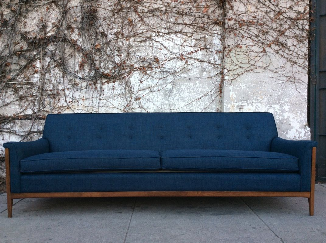 Mid century style franklin sofa in navy blue