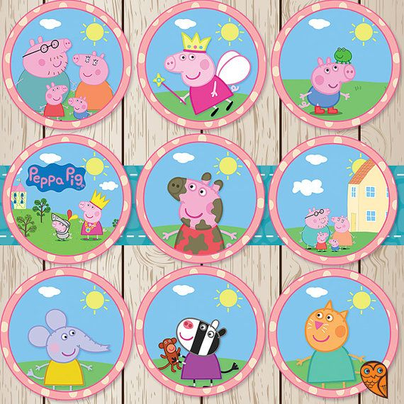 Printable Peppa Pig Cupcake Toppers Peppa By Brightowlcreatives