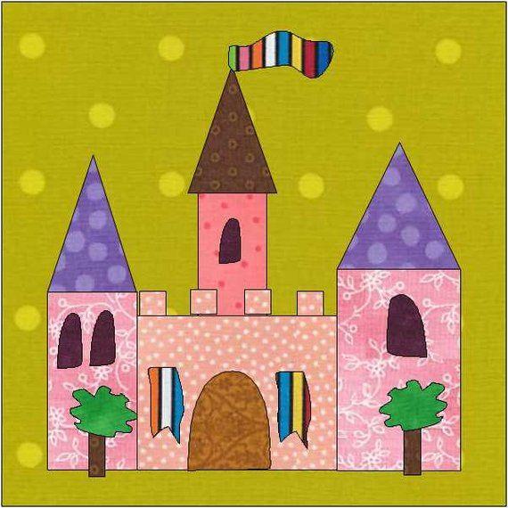 Castle Quilt Block Fairy Castle Instant Download House