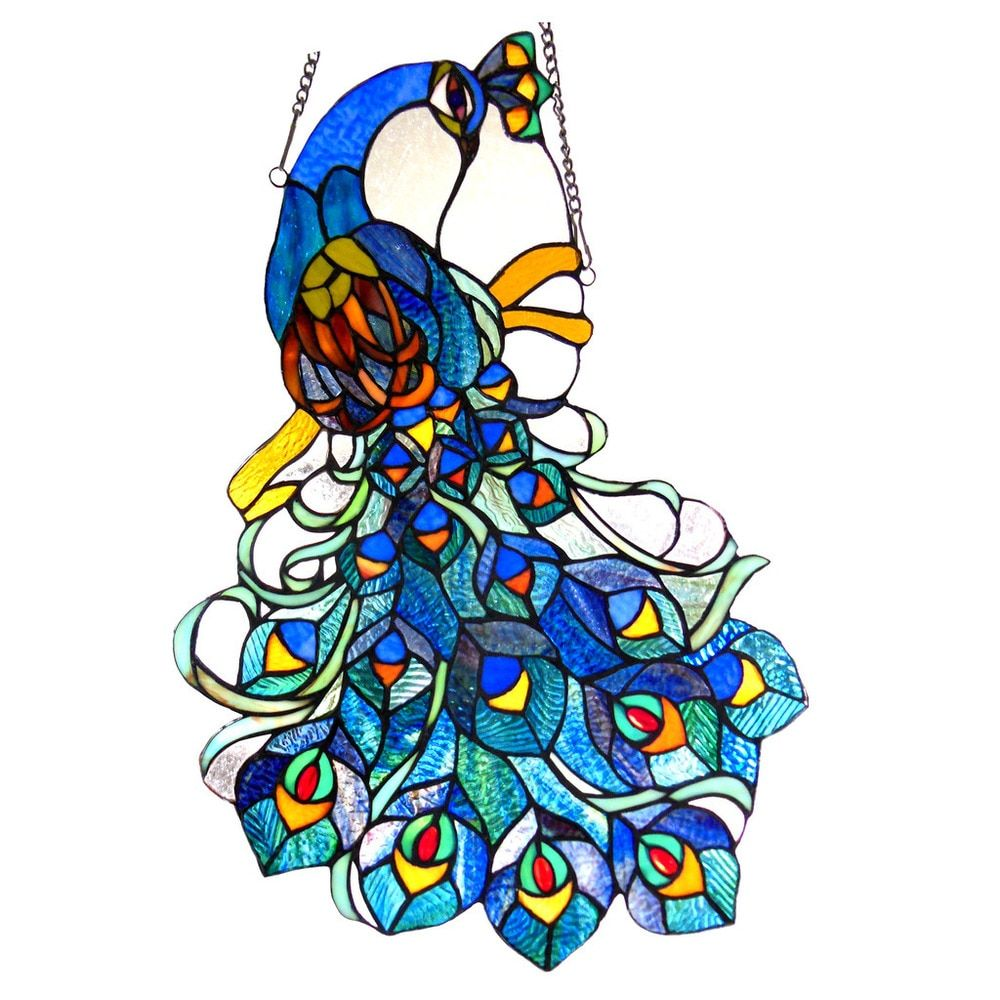 966299bc8 Chloe Tiffany Style Peacock Design Window Panel/Suncatcher - Free Shipping  Today - Overstock.com - 18170587 - Mobile