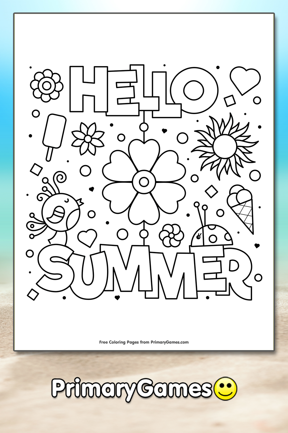 Hello Summer Coloring Page • FREE Printable eBook in 2020 ...