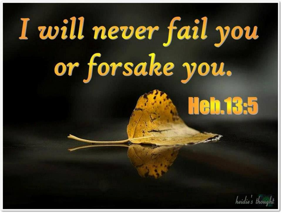 He Will Never Forsake Us...