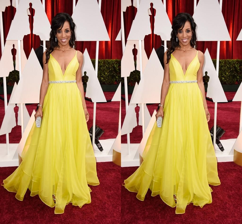 th oscar yellow stuning celebrity dresses deep v neck sexy