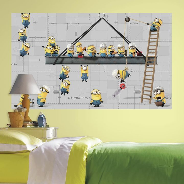 Roommates Despicable Me Minions At Work Peel & Stick Mural Wall ...