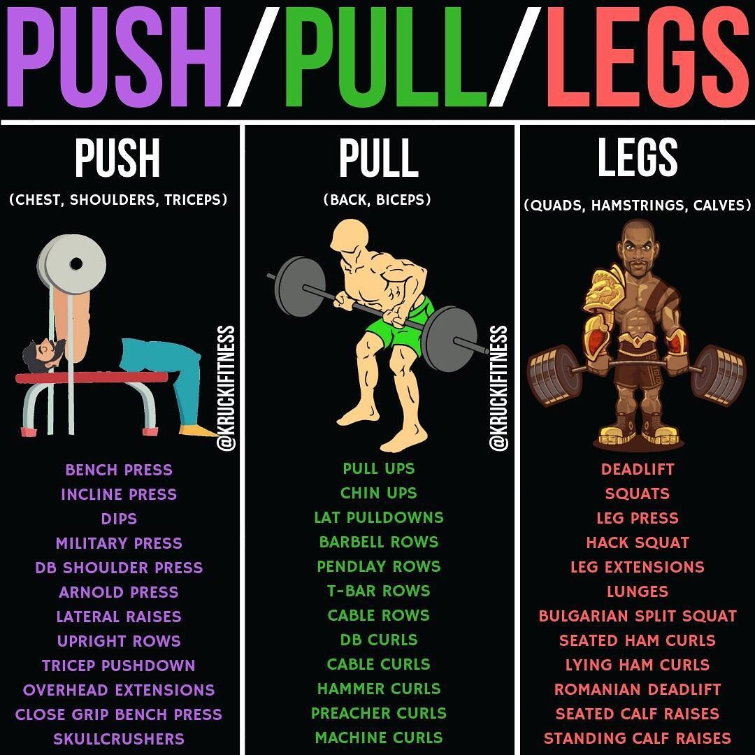 Workout List: Push/Pull/Legs Weight Training Workout Schedule For 7 Days