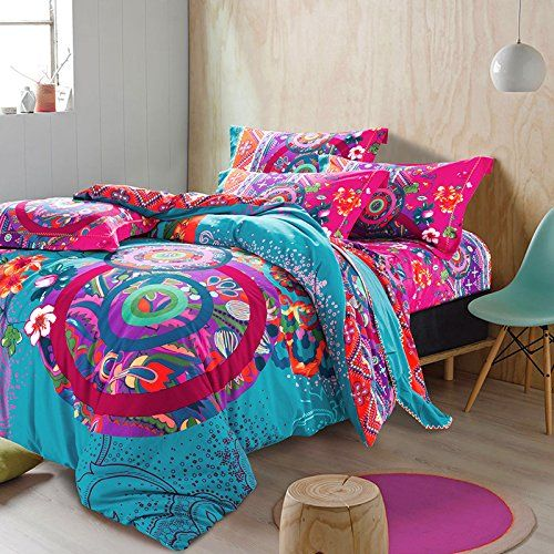 FADFAY Home Textile,Colorful Boho Duvet Cover,Designer Brand 100% Cotton Boho Bedding,Modern Western Rustic Bed Sheet Set, 4Pcs (King) Diaidi http://www.amazon.co.uk/dp/B00M8RZEM2/ref=cm_sw_r_pi_dp_3AIMwb0ZXVGR3
