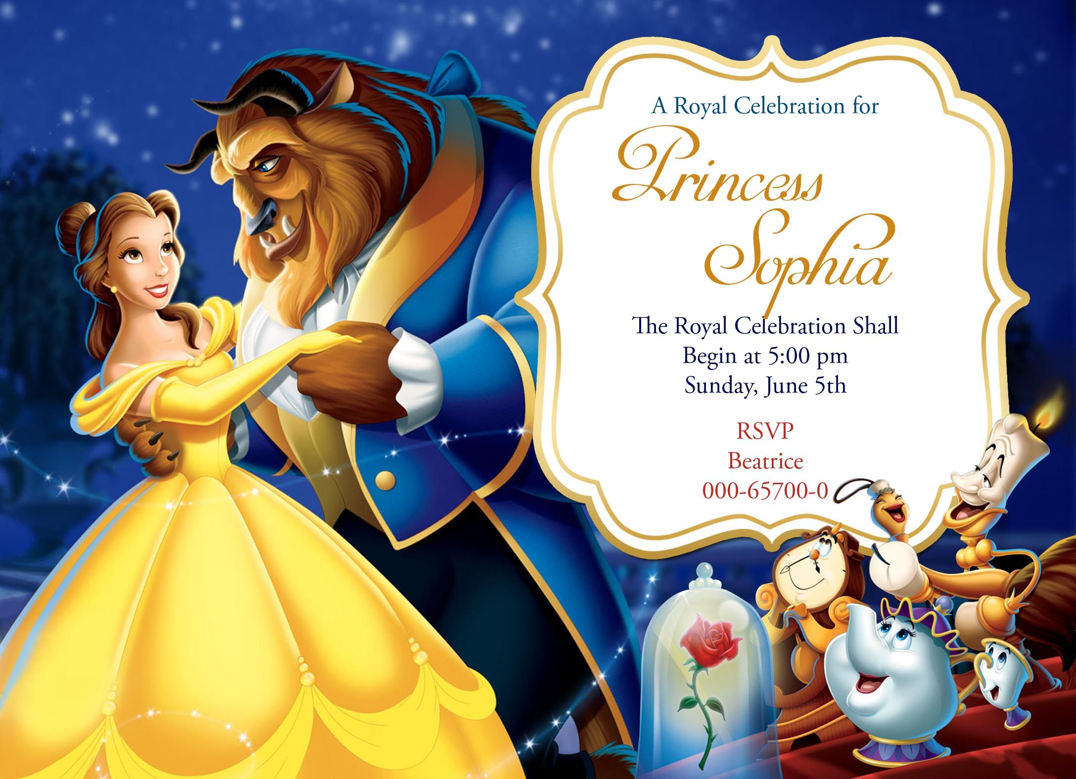 Disney Beauty and the Beast birthday invitation card for more