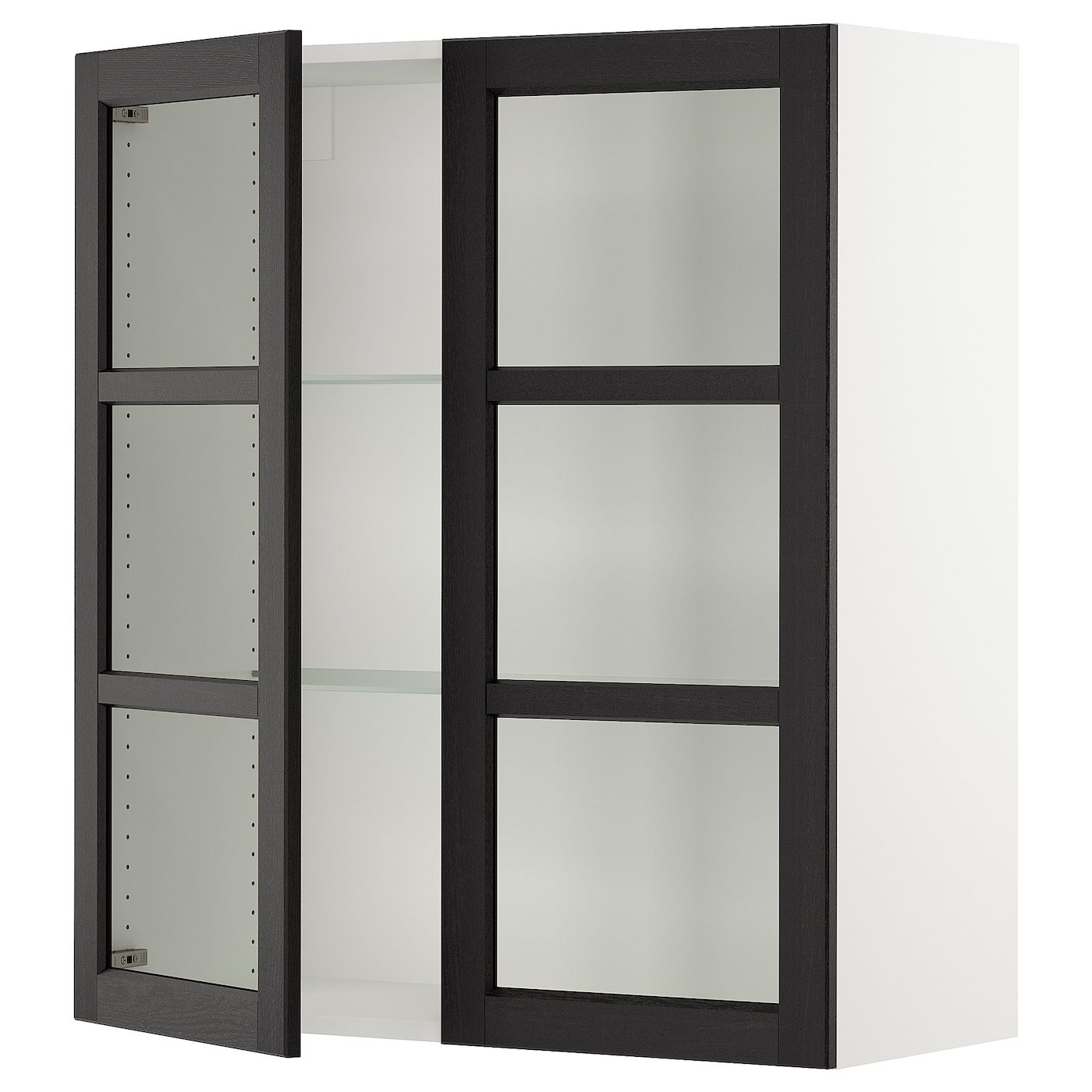Ikea Sektion Wall Cabinet With 2 Glass Doors White Lerhyttan Black Stained You Can Customize Spacing As Needed Because The In 2020 Wall Cabinet Glass Door Ikea