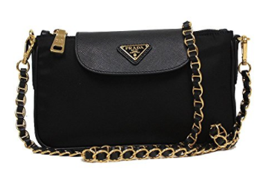 f237667a4a5 Prada Tessuto Saffiano Nylon Leather Black Chain Handle Crossbody ...