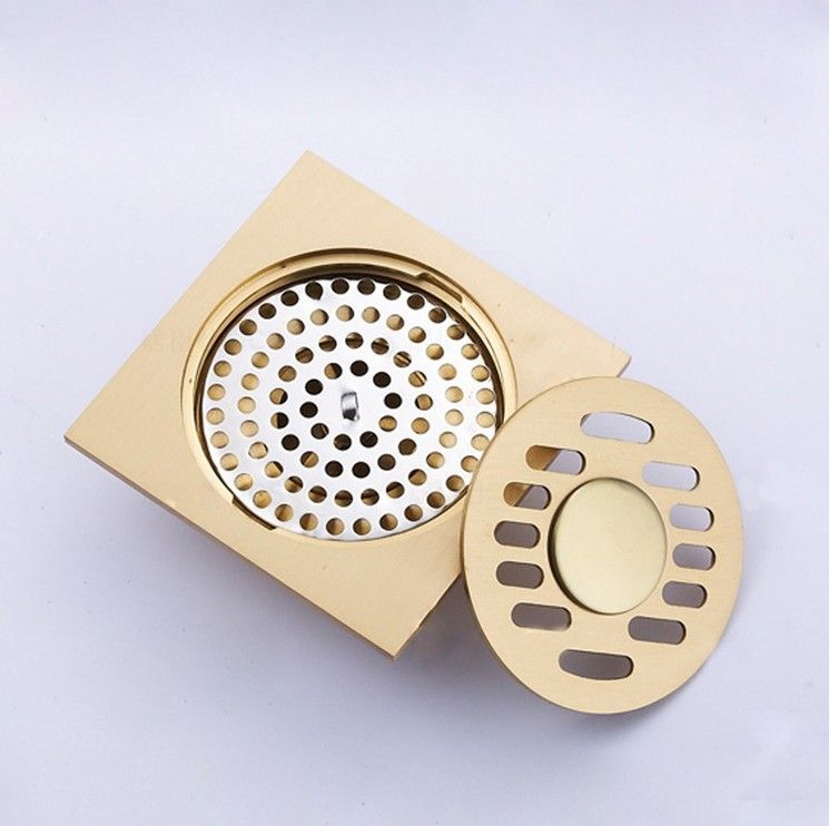 Fashion 10 10cm Golden Bathroom Square Shower Floor Drain Deodorant Type Grate Drains Antique Bronze Finish In Floor Drains Shower Floor Antique Bronze