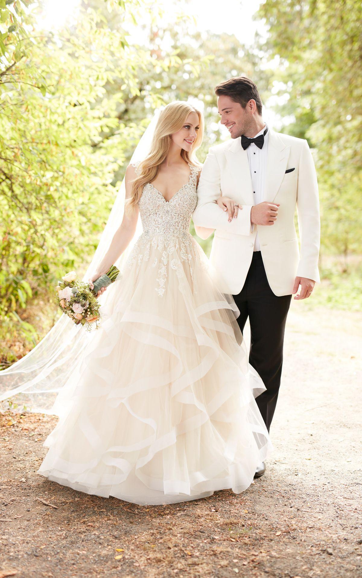 Princess Cut Wedding Dress With Layered Tulle Skirt