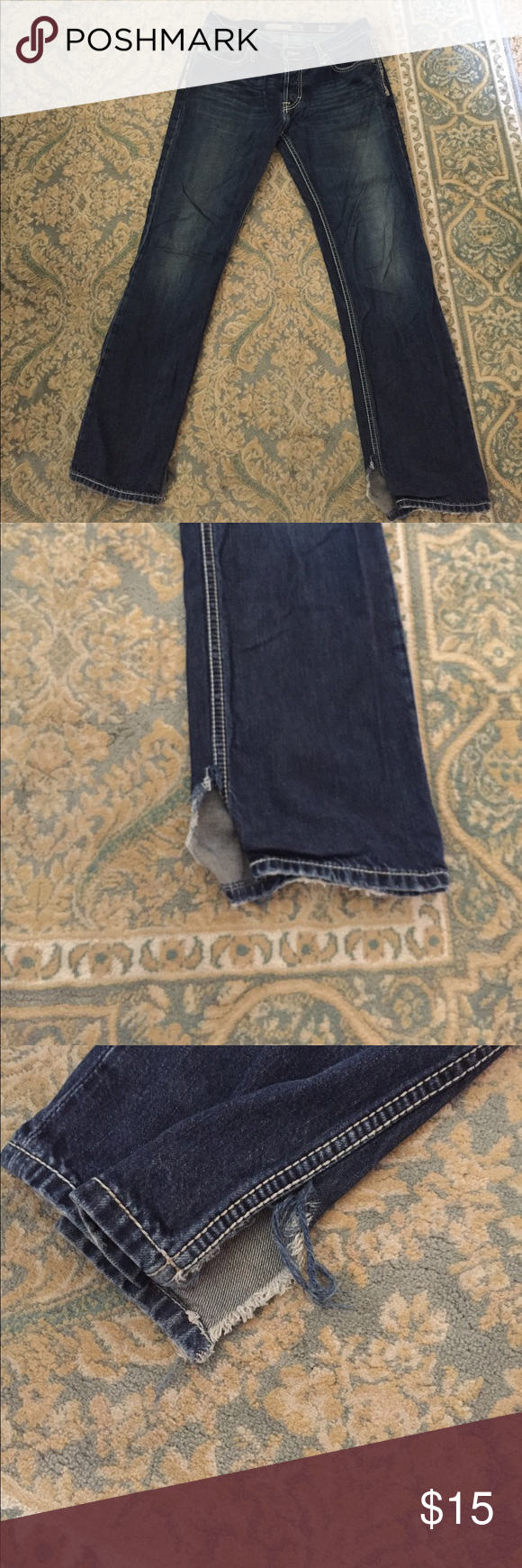 BKE carter straight jeans 33R 32L These BKE jeans are in great condition the size is 33 around the waist 32 length straight cut. Please refer to pictures for my husband cuts the bottom of jeans so they fit over his boots but when you have them on it's not really noticeable. Make me an offer. BKE Jeans Straight