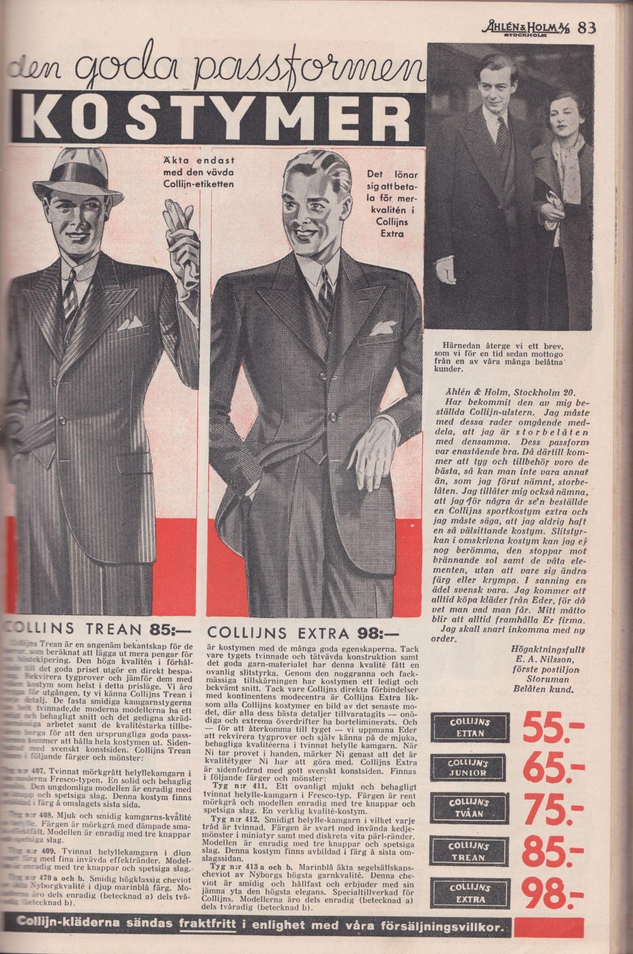 Reklam för Collijns kläder och kostymer i Åhlen & Holm höst- och vinterkatalog 1935-36 | Märke ...